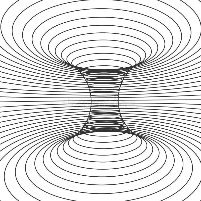 Quadro abstrato do projeto do wormhole Distorça do espaço e do tempo Ilustração do vetor isolada no fundo branco ilustração do vetor