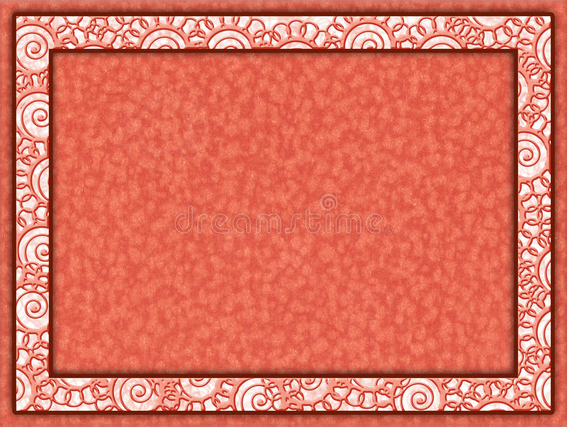 Quadro alaranjado com fundo floral da inserção e do papel ilustração royalty free