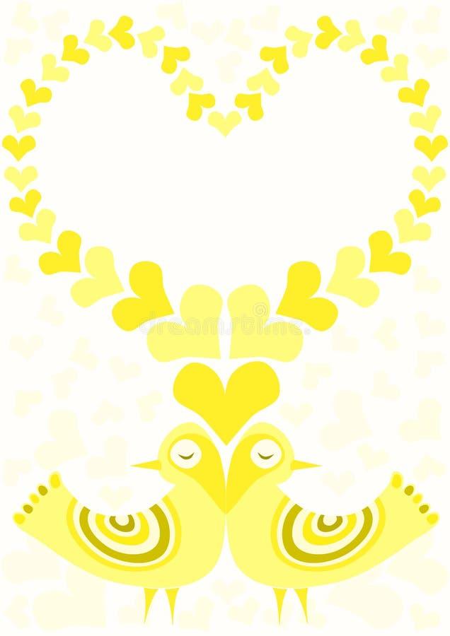 Quadro amarelo dos pássaros do amor da luz do sol ilustração do vetor