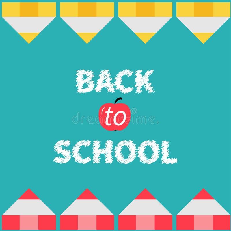 Quadro amarelo e vermelho do lápis De volta ao cartão da escola ilustração do vetor