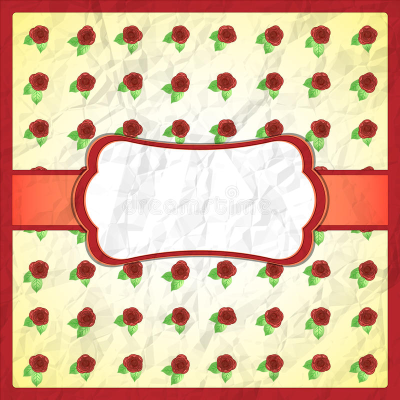 Quadro amarrotado do laço com rosas ilustração stock