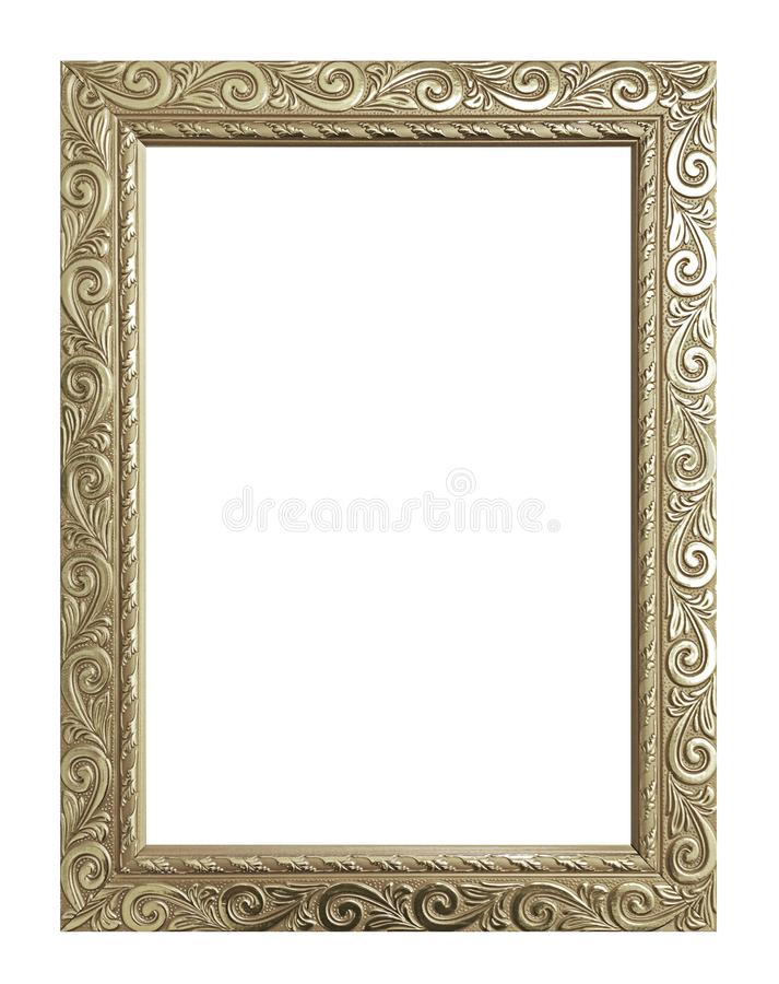 Quadro antigo do ouro isolado no fundo branco, trajeto de grampeamento imagem de stock
