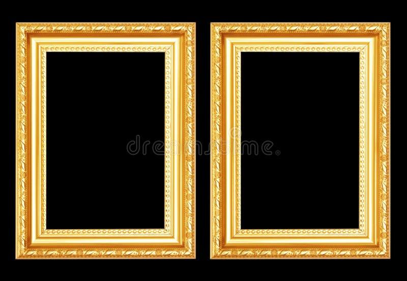 Quadro antigo do ouro isolado no fundo preto imagem de stock royalty free