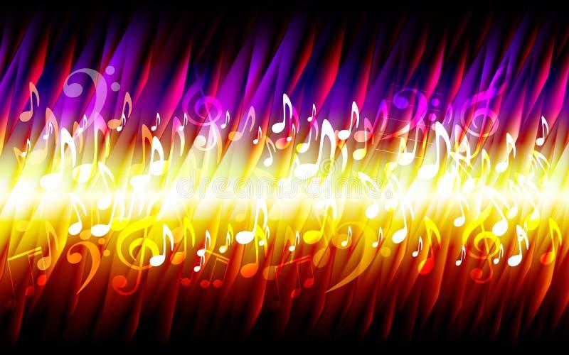 Quadro ardente do fundo da textura do fogo abstrato da música do grunge da folha ilustração stock
