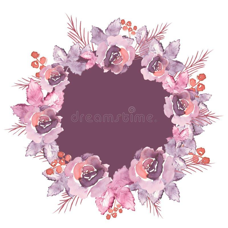 Quadro arredondado floral decorado com rosas violetas ilustração stock