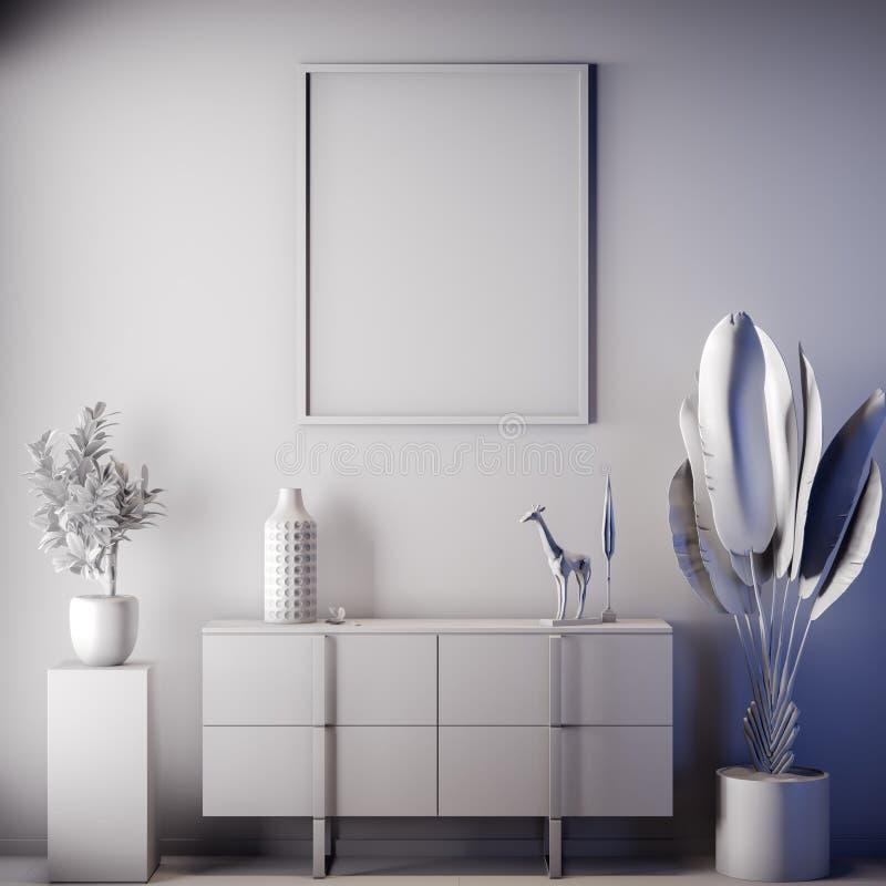 Quadro ascendente trocista do cartaz na cor interior, cinzenta, argila para render, ilustração 3D imagem de stock