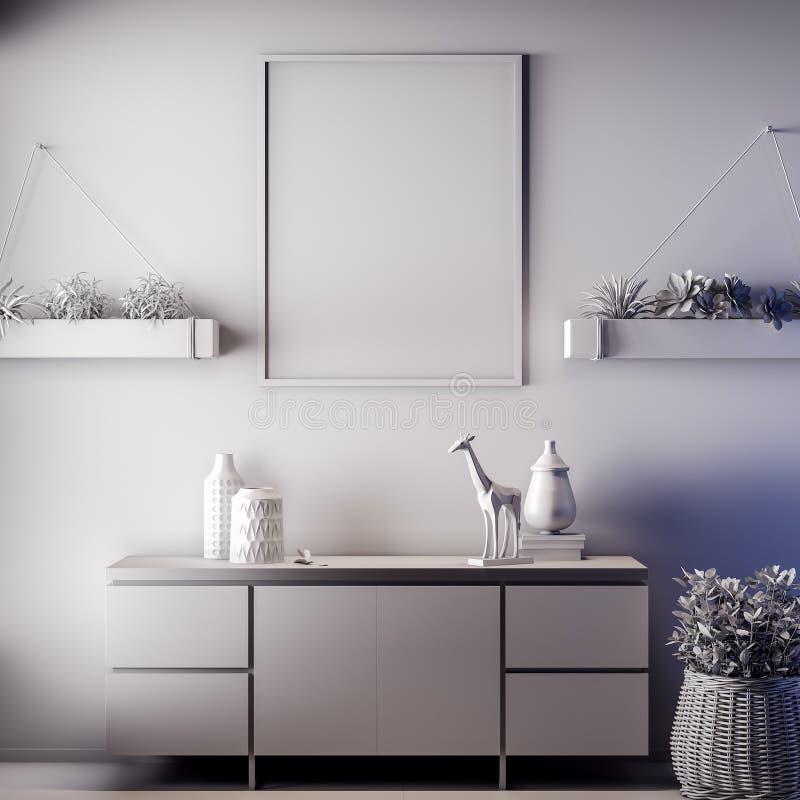 Quadro ascendente trocista do cartaz na cor interior, cinzenta, argila para render, ilustração 3D fotos de stock