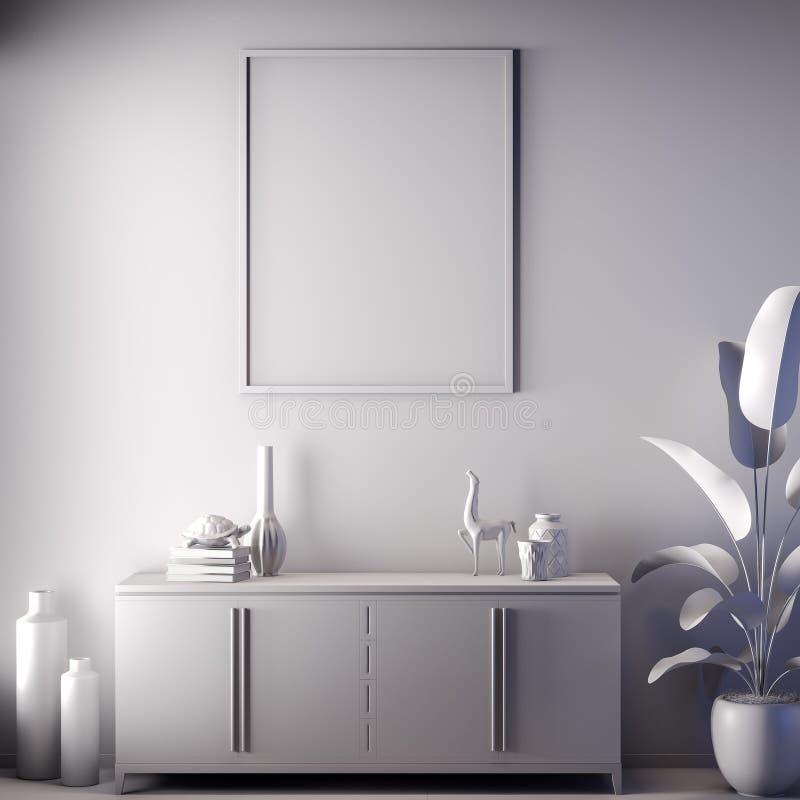 Quadro ascendente trocista do cartaz na cor interior, cinzenta, argila para render, ilustração 3D imagens de stock royalty free