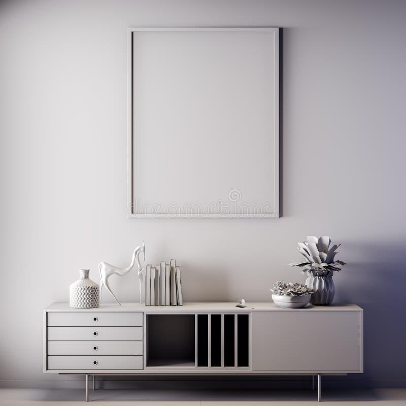 Quadro ascendente trocista do cartaz na cor interior, cinzenta, argila para render, ilustração 3D foto de stock royalty free