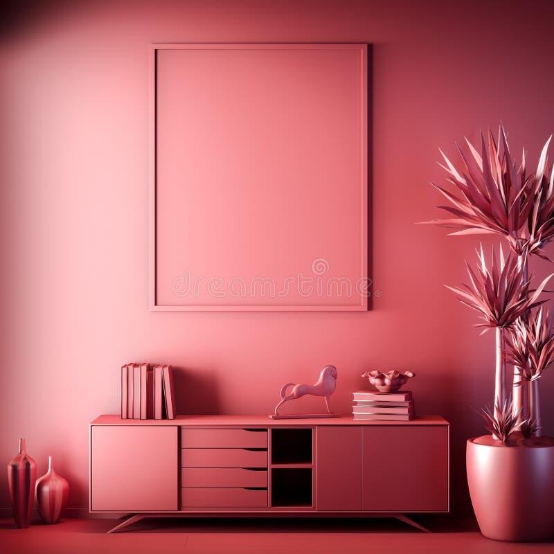 Quadro ascendente trocista do cartaz na cor interior, vermelha, argila para render, ilustração 3D imagens de stock