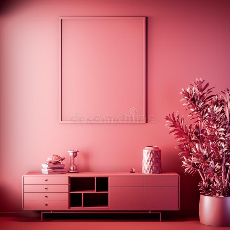 Quadro ascendente trocista do cartaz na cor interior, vermelha, argila para render, ilustração 3D imagem de stock