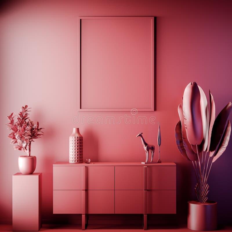 Quadro ascendente trocista do cartaz na cor interior, vermelha, argila para render, ilustração 3D foto de stock royalty free