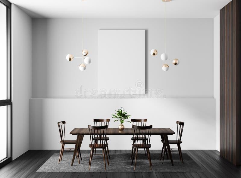 Quadro ascendente trocista do cartaz na sala de jantar moderna Sala de jantar escandinava do estilo ilustração 3D ilustração stock