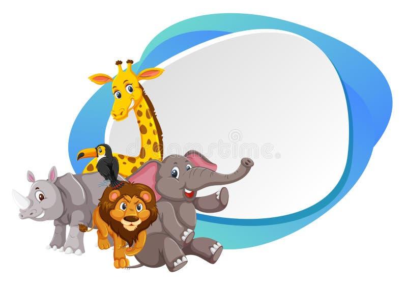Quadro azul animal da selva ilustração royalty free