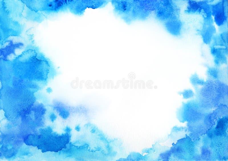 Quadro azul do fundo da aquarela com espaço da cópia ilustração do vetor
