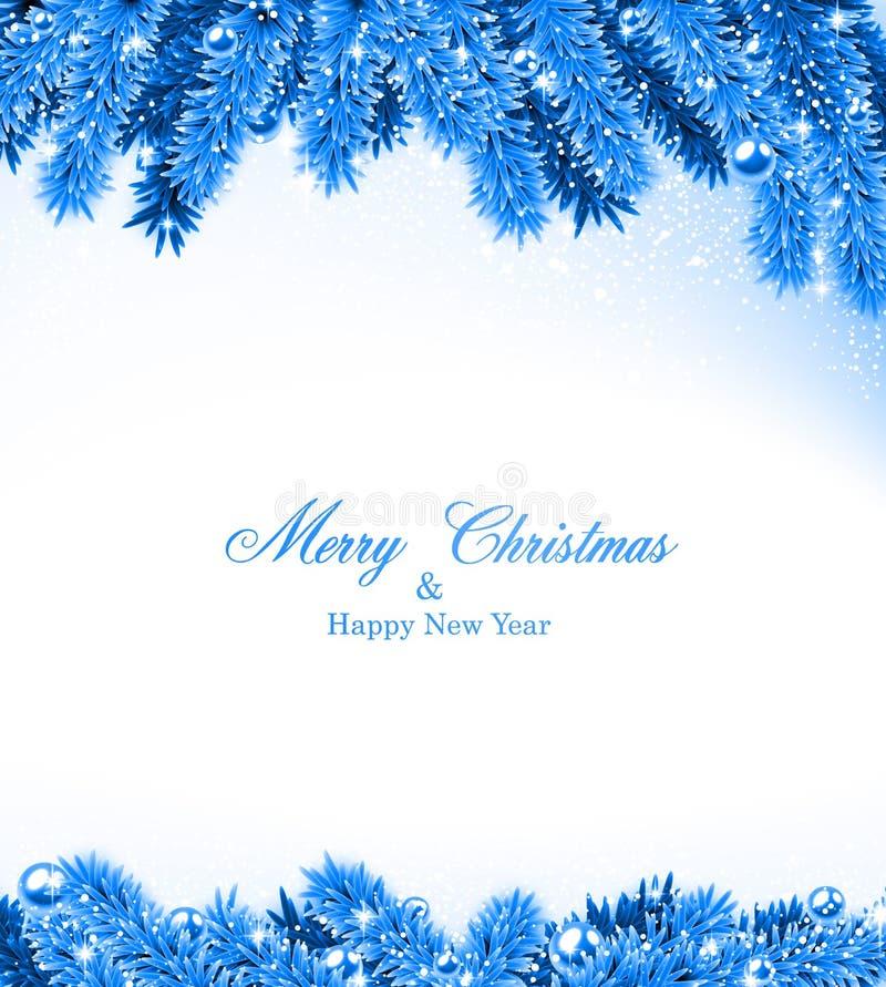 Quadro azul do Natal do abeto. ilustração stock