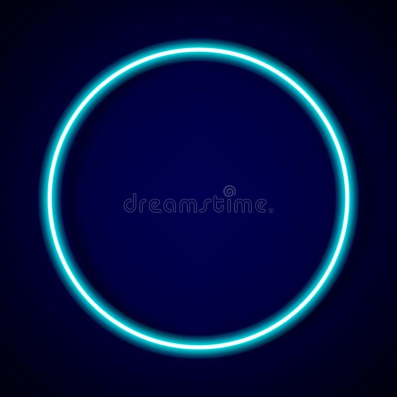 quadro azul do tubo de néon do círculo com sombra para o teste padrão e o projeto ilustração royalty free