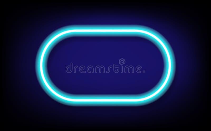 quadro azul do tubo de néon da cápsula com sombra, ilustração do vetor ilustração royalty free