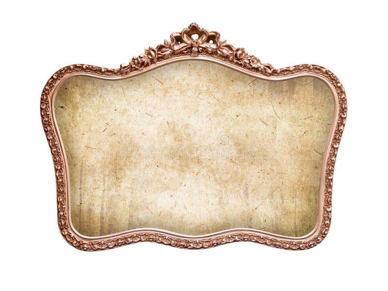 Quadro barroco antigo oval, isolado no branco imagens de stock royalty free