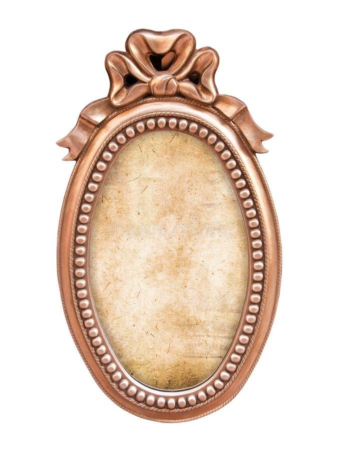 Quadro barroco antigo oval, isolado no branco imagem de stock royalty free