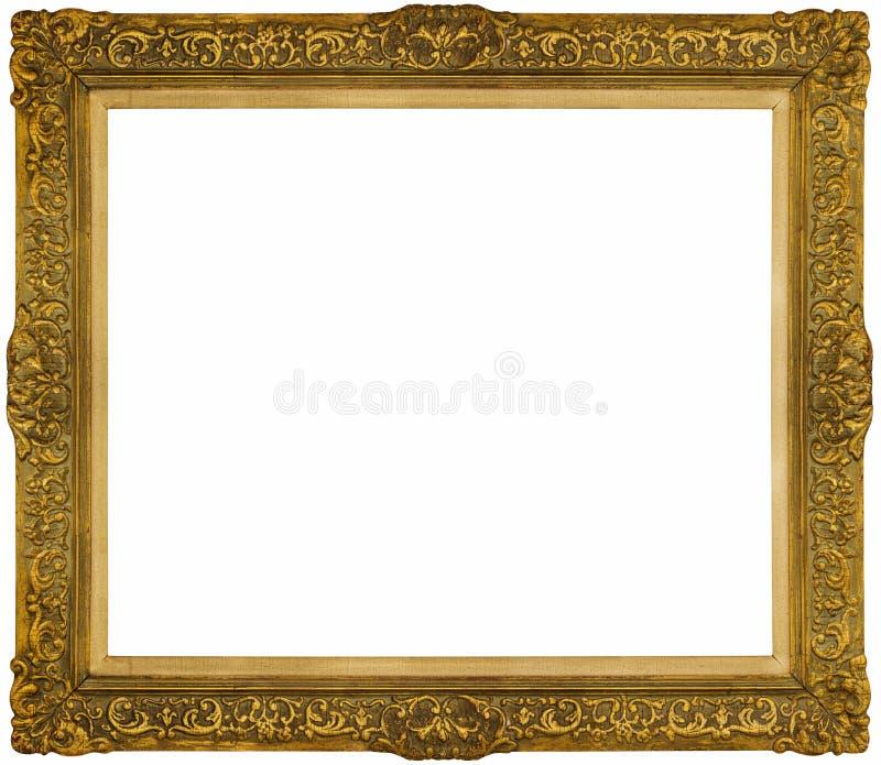 Quadro barroco do ouro isolado no fundo branco fotografia de stock