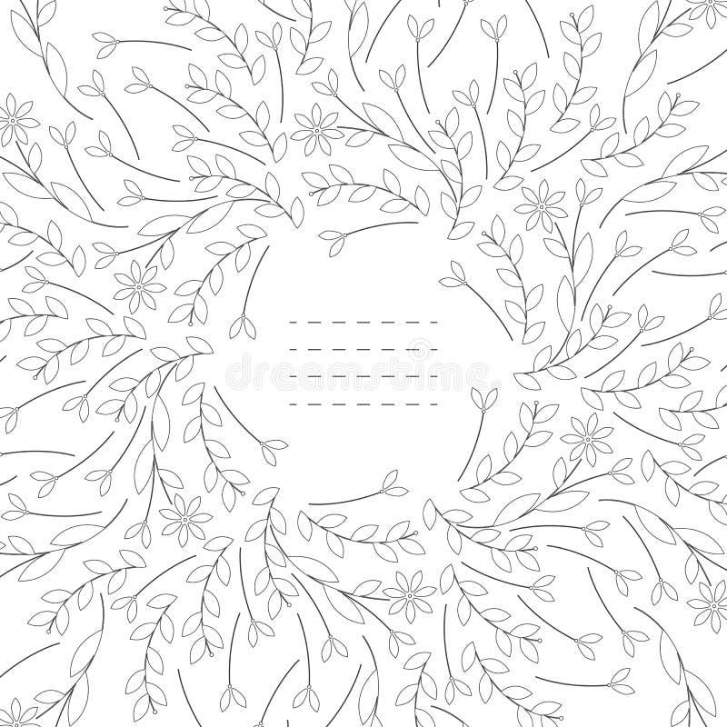 Quadro bonito com as folhas e as flores isoladas no fundo branco ilustração stock