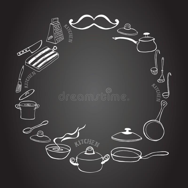 Quadro bonito da cozinha no quadro-negro ilustração royalty free