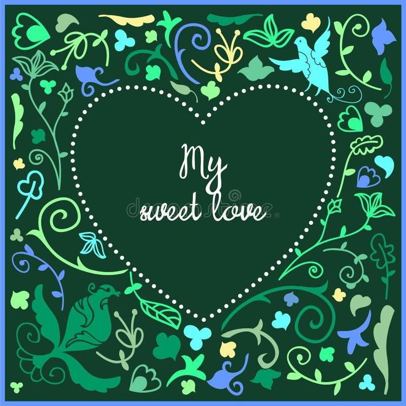 Download Quadro Bonito Da Garatuja Do Coração Com Fundo Floral E Espaço Vazio No Centro Para O Texto Ilustração do Vetor - Ilustração de flor, quadro: 65575485