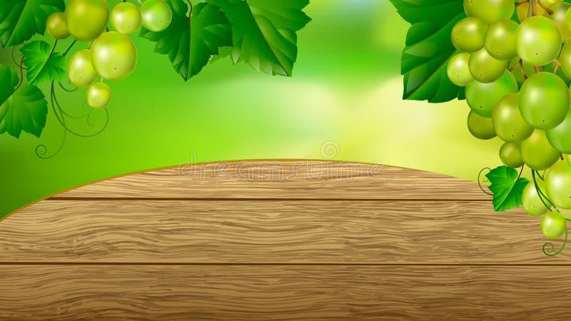 Quadro bonito das uvas Fundo de madeira Anunciando a bandeira ou a etiqueta ilustração do vetor