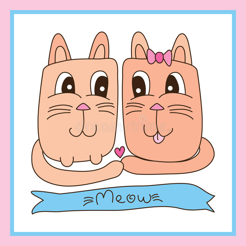 Quadro bonito do amante do gato ilustração stock