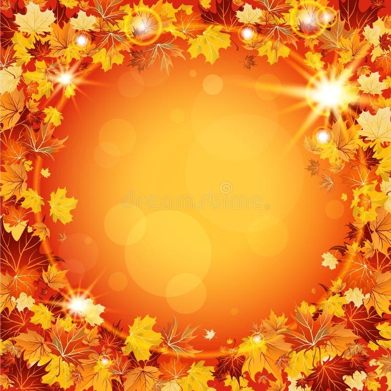 Quadro bonito do outono com folhas de bordo ilustração do vetor