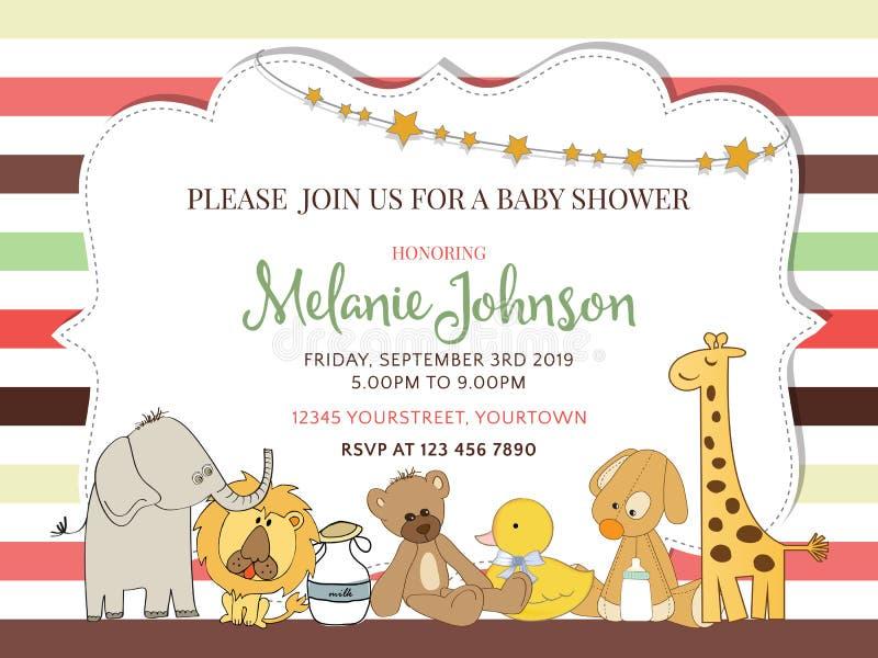 Quadro bonito em linhas de cor para a festa do bebê ilustração royalty free