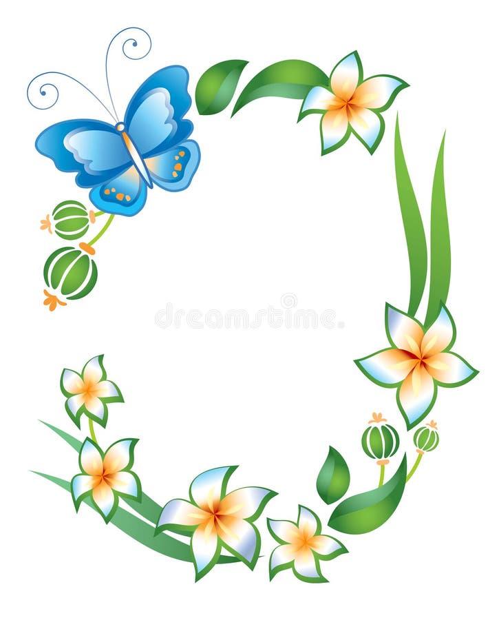 Quadro: borboleta, folha e flores ilustração royalty free