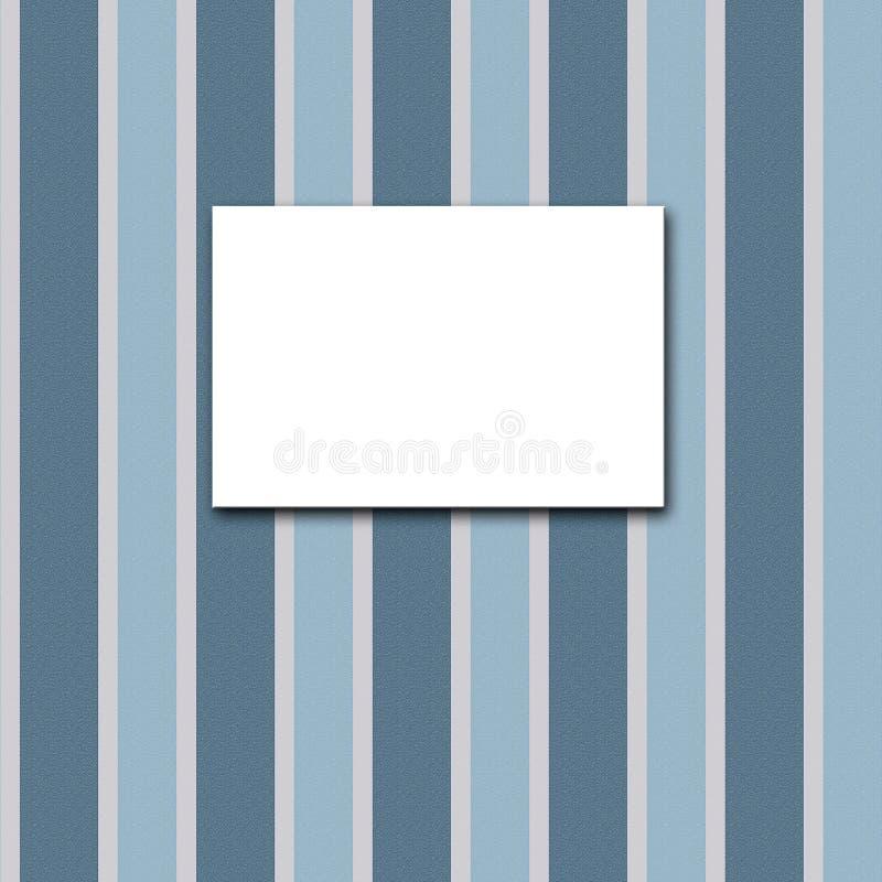 Quadro branco da lona em um papel de parede listrado azul ilustração do vetor