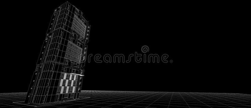 Quadro branco de construção exterior do fio da perspectiva do conceito de projeto 3d da fachada da arquitetura que rende o fundo  ilustração do vetor