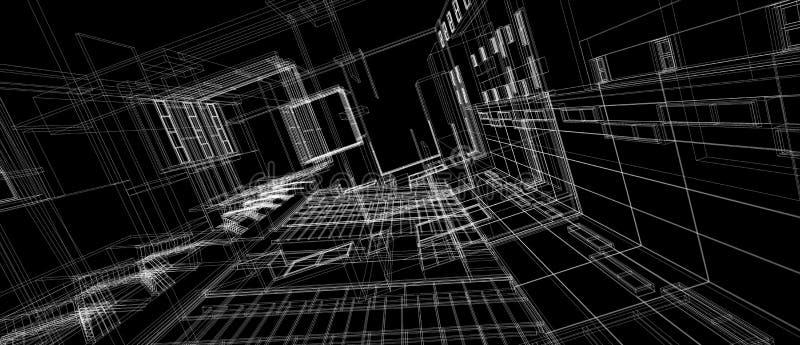 Quadro branco do fio da perspectiva do conceito de projeto 3d do espaço da construção da arquitetura que rende o fundo preto ilustração do vetor