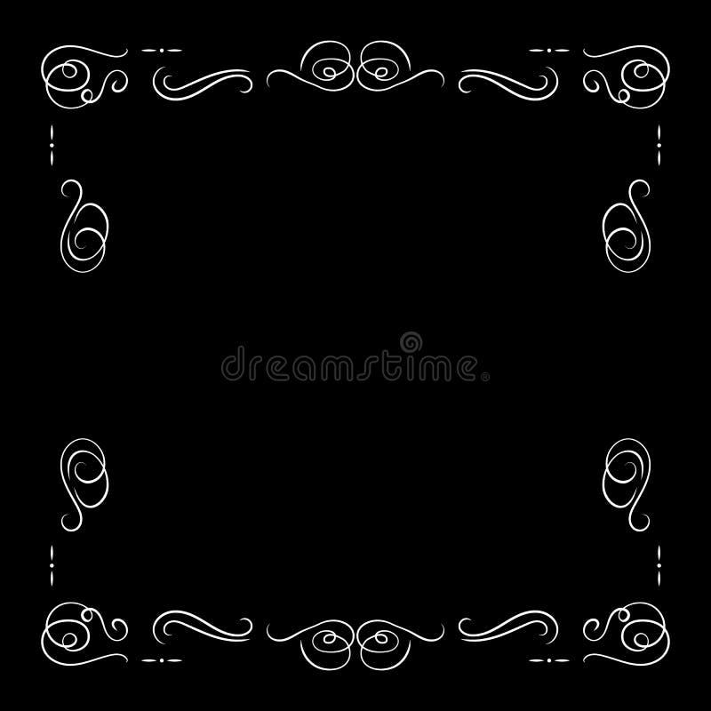 Quadro branco isolado, molde vazio do vintage do vetor da beira, elemento decorativo do filme retro, linhas filigranas ilustração stock