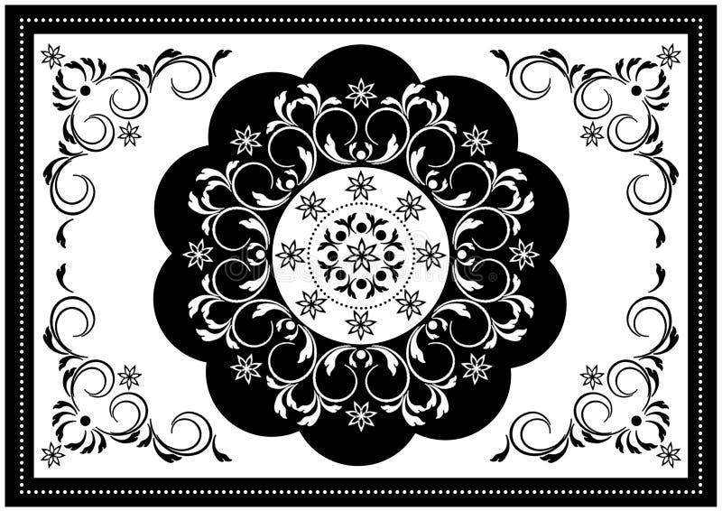 Quadro branco luxuoso com beira oval ondulada preta e teste padrão branco no centro das tiras espirais com folhas e beira preta w fotos de stock