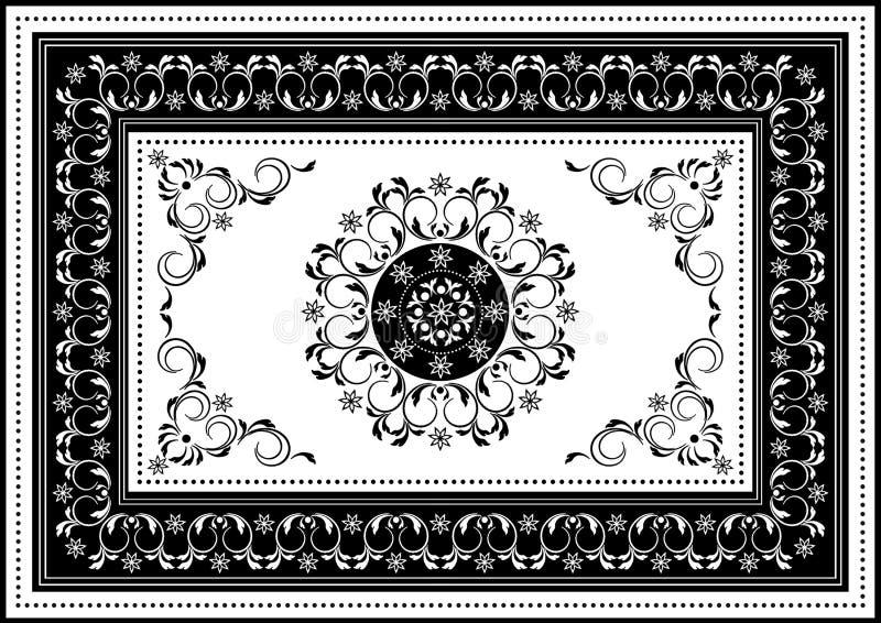 Quadro branco luxuoso com o ornamento oval preto no centro de listras espirais e da beira preta com teste padrão branco fotografia de stock royalty free