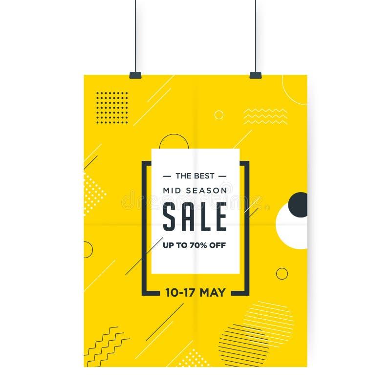 Quadro branco no fundo amarelo minimalistic do sumário Projeto do molde da bandeira da venda Oferta especial da venda grande Band ilustração do vetor