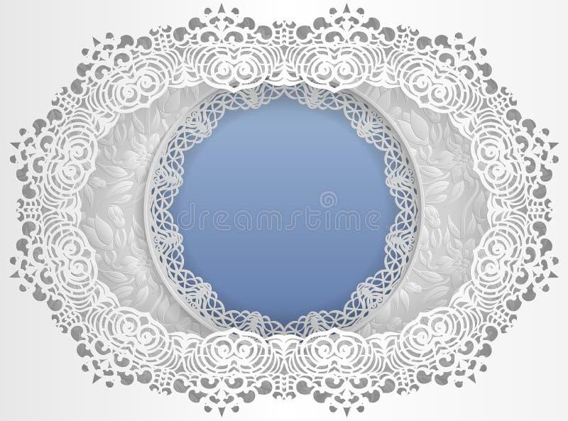 Quadro branco redondo em um quadro oval com bordas do laço e um fundo floral para dentro Molde para o casamento e as outras felic ilustração do vetor