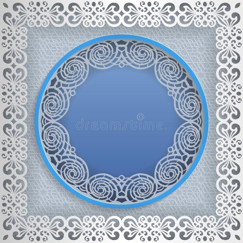 Quadro branco redondo em um quadro quadrado com bordas do laço e um fundo abstrato para dentro Molde para o casamento e o outro c ilustração royalty free