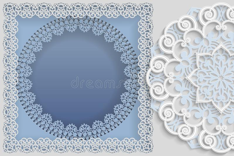 Quadro branco redondo em um quadro retangular com bordas do laço e 3D ilustração do vetor