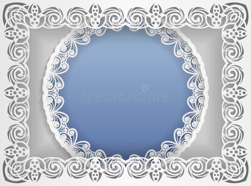 Quadro branco redondo em um quadro retangular com bordas do laço e um fundo abstrato para dentro Molde para o casamento e o outro ilustração do vetor