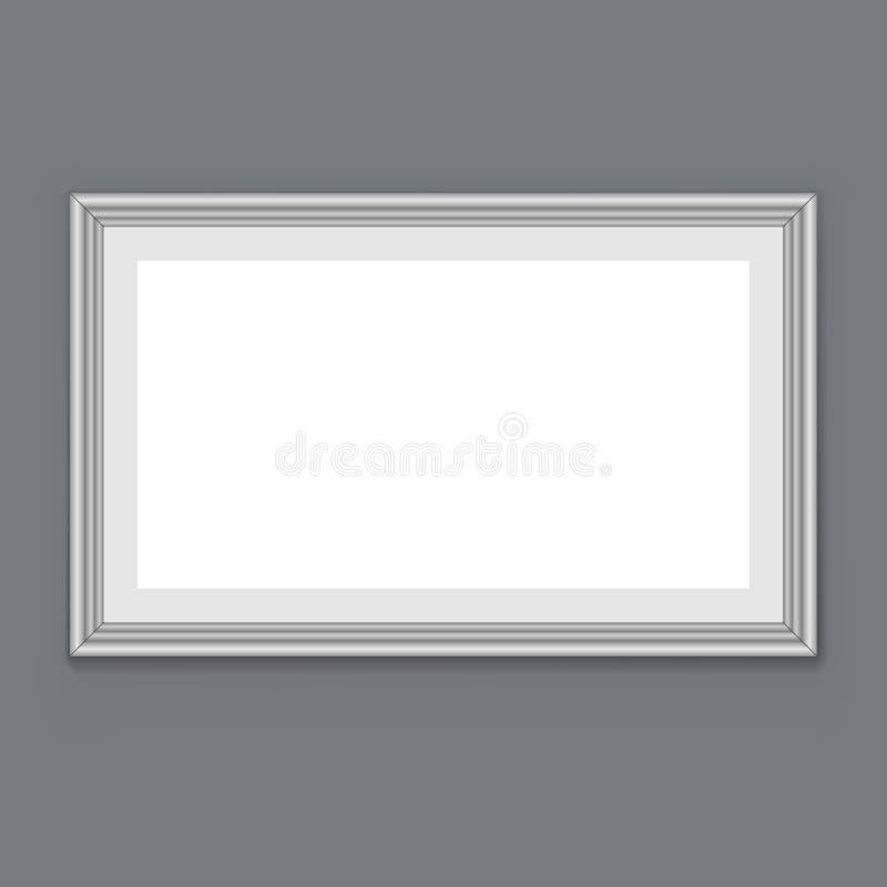 Quadro branco vazio na parede cinzenta ilustração do vetor
