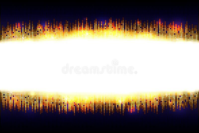 Quadro brilhante dourado do brilho do mosaico com espaço claro vazio para o texto em uma obscuridade - fundo azul ilustração royalty free