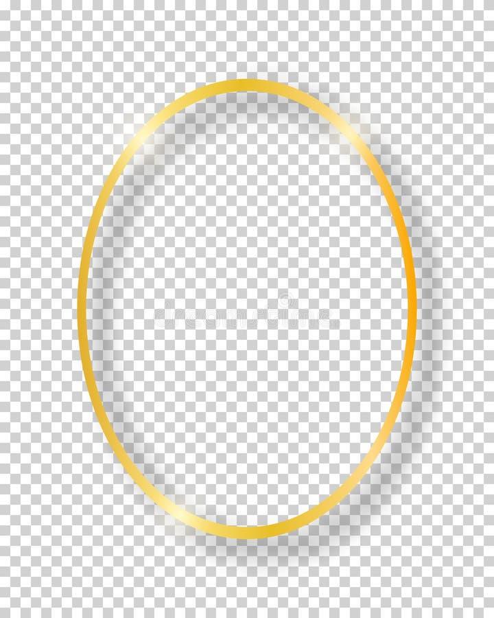 Quadro brilhante dourado do círculo do vintage do vetor isolado no fundo transparente Oval realístico de incandescência luxuoso ilustração do vetor