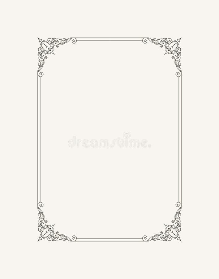 Quadro caligráfico do vintage Beira preto e branco do convite, diploma do vetor, certificado, cartão ilustração stock