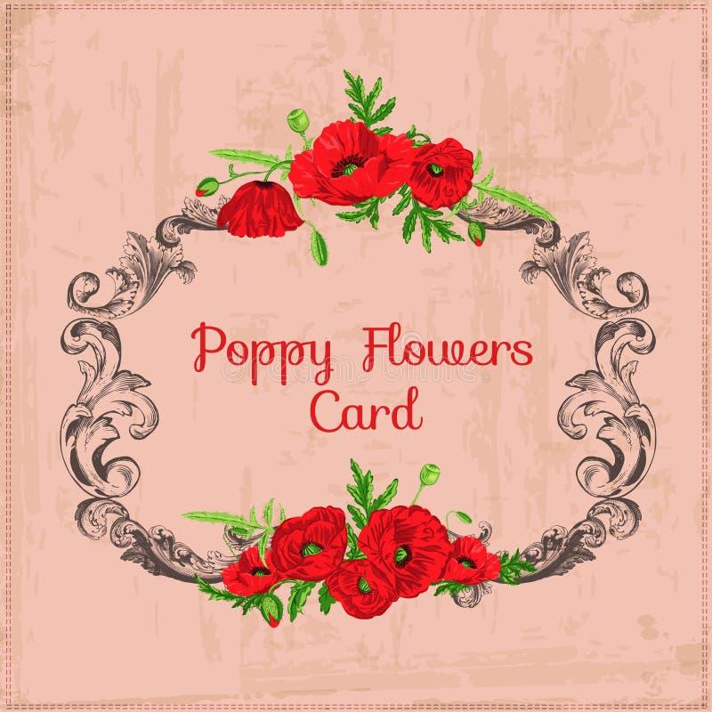 Quadro chique gasto floral do vintage ilustração stock