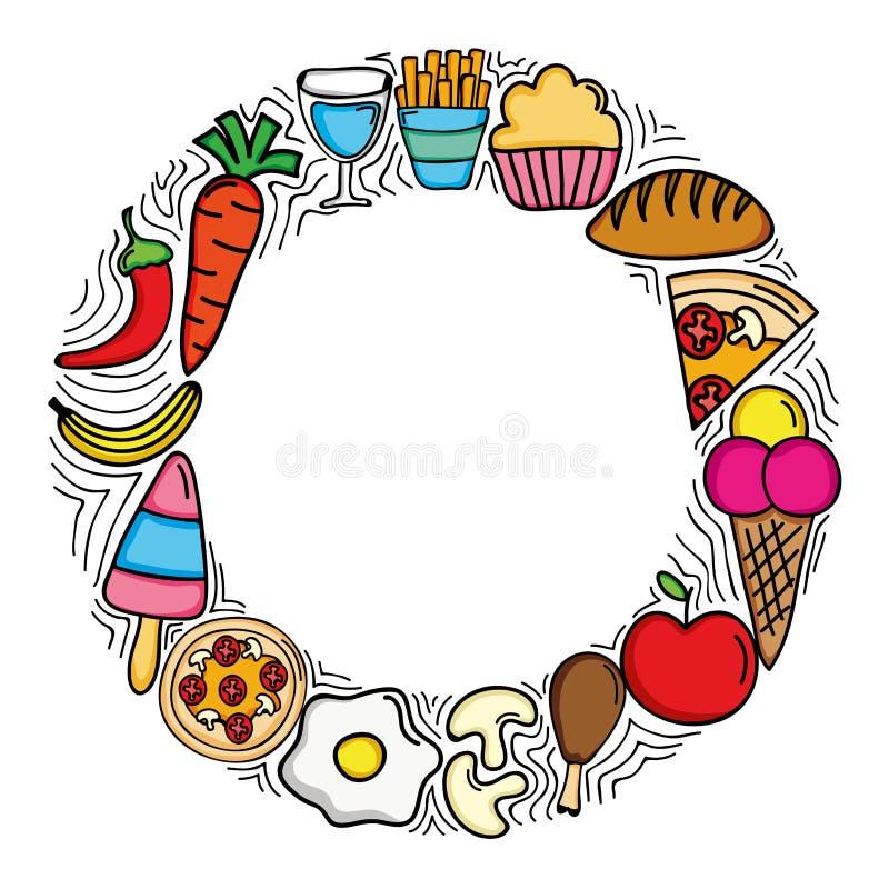 Quadro circular do menu delicioso do alimento ilustração royalty free